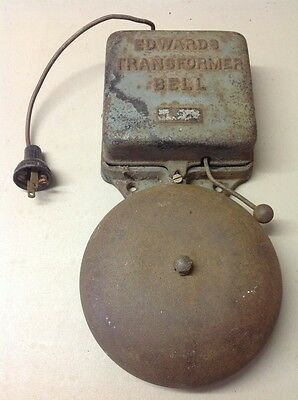 FREE SHIPPING!! ANTIQUE Cast iron Electric Bell EDWARDS TRANSFORMER Alarm Fire