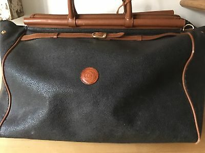 Fab Vtg Large Over Night Weekend Bag Retro Faux Leather Black Chic