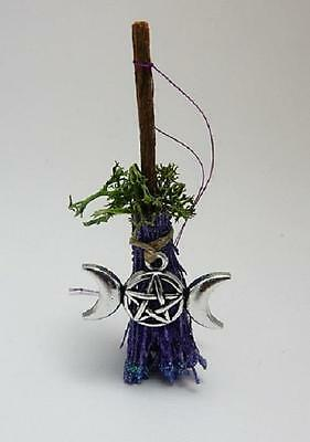 Witch's Besom broomstick with wiccan triple moon charm altar decoration pagan