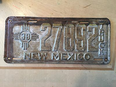 "1938 New Mexico Truck License Plate "" 26596 "" Nm   Can Be Restored / Repainted"