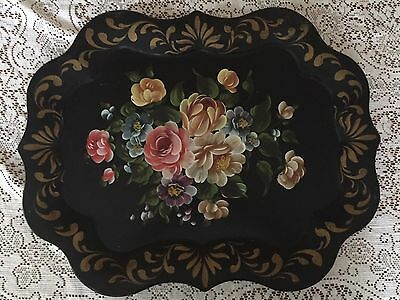 Vintage Large Black Tole Tray Handpainted Flowers Floral Hand Painted!