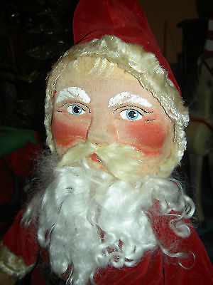 Large 26 inch, Antique c1930 vintage, stuffed canvas SANTA CLAUS, St. Nick doll