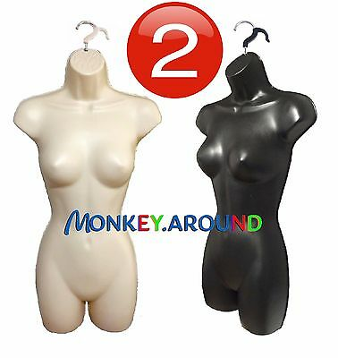 Display Dresses - 2 Female Flesh Black Mannequin Body Woman Form, +2 Hook Hanger