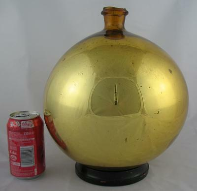 Large Antique 19th C. Free Blown Gold Mirror Glass Witches Ball Bottle Flask 11""