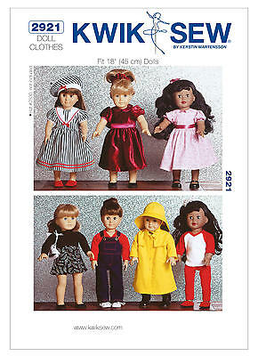 """Kwik Sew Sewing Pattern  2921 Dolls clothes to fit approx 18"""" Doll Raincoat Hat"""
