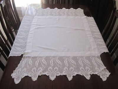 Unusual White Linen Tablecloth With Wide Filet Crochet Lace Edges