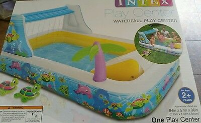 INTEX WATERFALL PLAY CENTER INFLATABLE POOL SLIDE NEW Turtles Swimming Gift