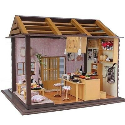 Hoomeda DIY Wood Dollhouse Miniature With LED+Furniture+Cover Sushi Bar