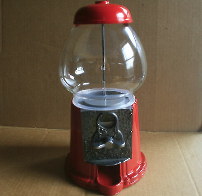 "Gumball/candy Dispenser Carousel 11"", Red Metal/glass Globe"