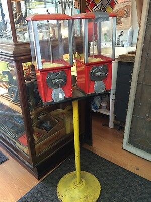 Vintage Double Bulk Vending Machine and Stand
