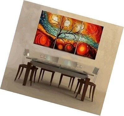 Colorful Tree Modern Abstract 100% Hand Painted Oil Painting on Canvas Wall Art