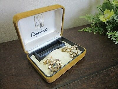 Vtg ESQ Esquire mens cufflinks.AB faceted crystal in goldplate