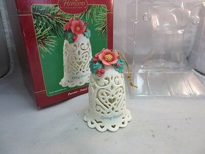 2002 Heirloom Collection porcelain Xmas ornament bell.Loving Parents