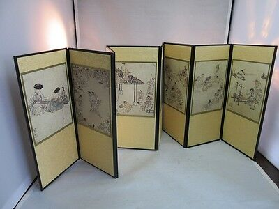 Chinese souvenir miniature screen panels with village life scenes