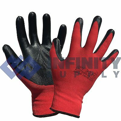 24 Pairs Nylon Nitrile Rubber Coated Palm Safety Grip Work Gloves Builders