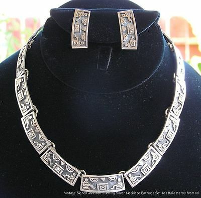 Vintage Signed Mexico Sterling Silver Los Ballesteros Necklace & Earrings Set