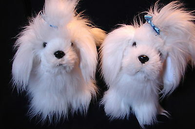 Sweet PAIR Super Soft Plush MALTESE PUPPY DOGS by Battat