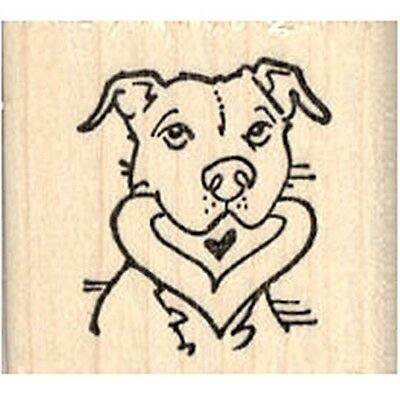 Pit Bull with Heart in Mouth Rubber Stamp - (RH27015) FREE SHIPPING