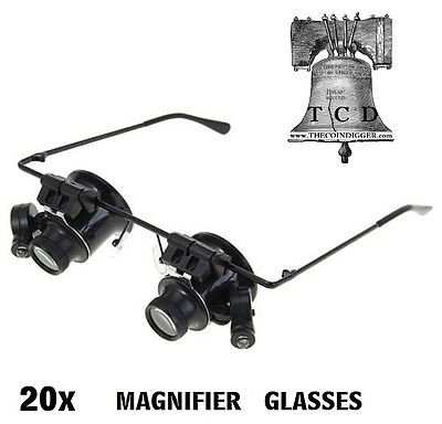20x Hands Free Magnifier LED Binocular Magnifying Glasses Circuit Board Printing