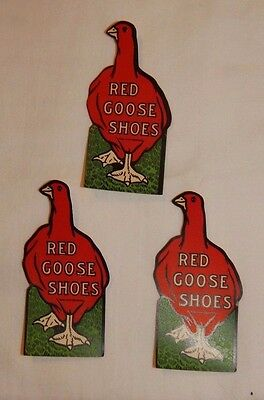 RARE old set of 3 Red Goose Shoes advertising stickers decals UNUSED FREE SHIP