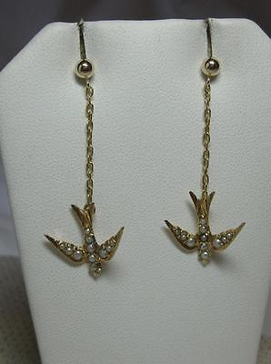 Victorian Bird Earrings Pearl Gold Wedding Jewelry Belle Epoque 1880 Art Nouveau