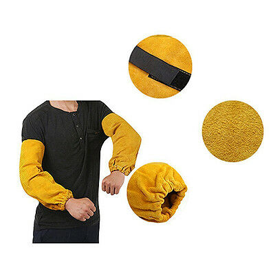 """Welding Sleeves Leather Yellow 18"""" Elastic Cuff Heat Resistant Protect Hand"""
