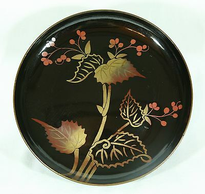 Japanese Old Lacquer Ware Tray Plate Wood Gold Makie Tea Ceremony Taisho
