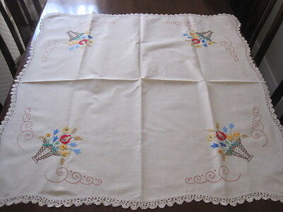 Divine Expertly Hand Embroidered Vintage Baskets Of Flowers Tablecloth