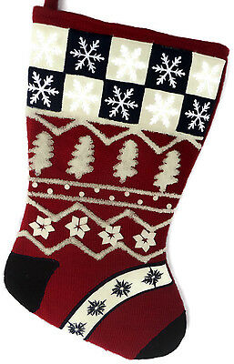 Christmas Stocking Red and Navy Snowflakes Trees Thick Sweater Fabric 16 Inch