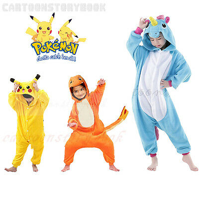 Kids Pokemon Animal Pajamas Costume Pikachu Kigurumi Charmander Outfit Jumpsuit