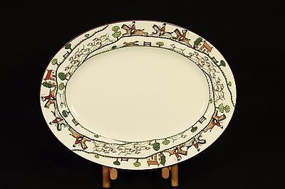 """Crown Staffordshire China 15"""" Oval Platter Serving Plate Tray Dish Hunting Scene"""