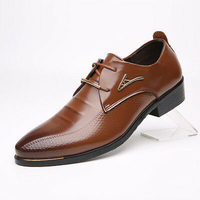 Men's Oxfords Leather Shoes Dress Formal Business Pointed Casual Fashion Lace Up