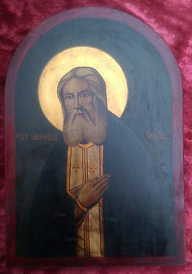 Old Unique Byzantine  hand painted ortodox icon of St. Serafim