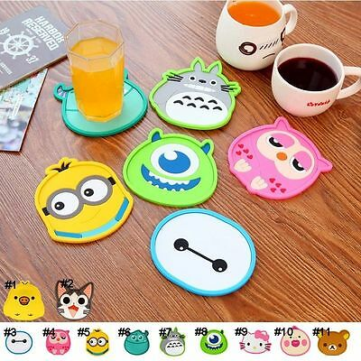 Cute Cartoon Silicone Coffee Coaster Beer Cup Glass Beverage Holder Pad Mat 1pcs