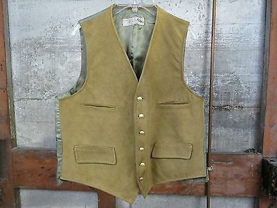 Vintage Men's William Joseph Brown Suede Lambskin Leather Suit Vest Size 40