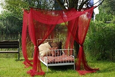 Beautiful Bed Canopy Mosquito Protection For Single Or Double Bed In Burgundy.