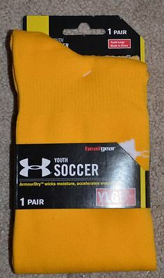 Under Armour ArmourDry youth large soccer sock socks heatgear gold yellow