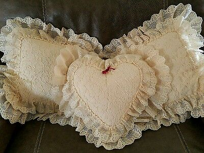 Set 3 Vintage LACE Throw Pillow Ruffle French Country Shabby Chic Antique White