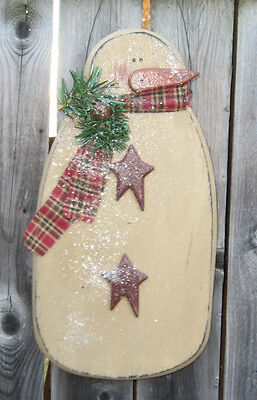 Primitive Country Snowman With Stars~Winter