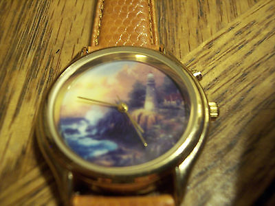 Thomas Kinkade Lighthouse Scene Watch with Backlight Feature