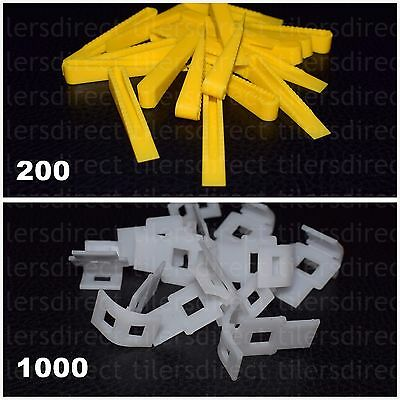 Tile Leveling System - 200 Wedges + 1000 Clips - Spacers Flooring Lippage Tools