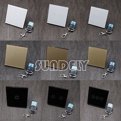 Touch Remote Light Switch 1/2/3gang 1 way Tempered Glass Panel Luxury UK