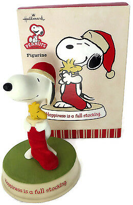 2010 Hallmark Peanuts Figurine Happiness is a Full Stocking Snoopy and Woodstock