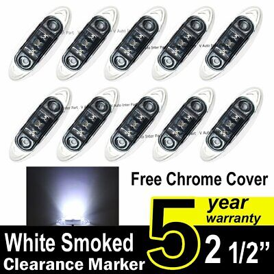 10X Smoked Lens White Truck Side Marker Clearance Light Oval Chrome 3 LED 12V