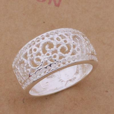 Ladies Wedding Gift Jewelry Silver Plated Us Size 7/8/9 Women Hollow Ring