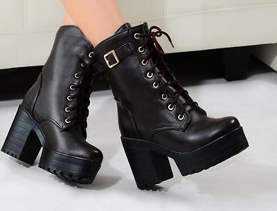 Goth Womens Punk platform Ankle Boots Chunky High Heel Lace Up Buckle Punk Shoes