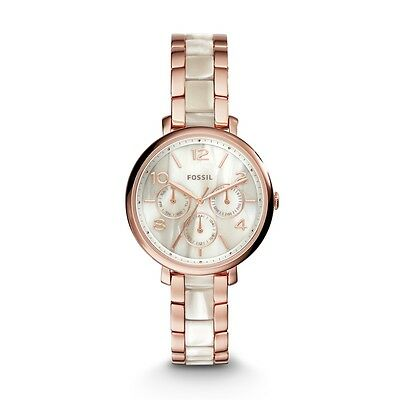 NWT Fossil ES3921 Jacqueline Rose Gold Tone Steel Horn Acetate Womens Watch