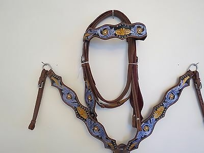 New Leather Western Headstall Bridle Breast Collar Tack Set Prpleaf
