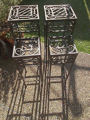 4 x 1990s VINTAGE POWDER COATED STEEL RUSTIC BROWN SQUARE PLANT STANDS SMALL/MED