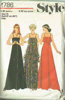 Vintage 1970s Style Dress Sewing Pattern Ladies Retro Dress  Misses Size 12
